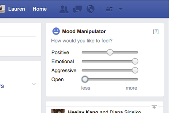Facebook Mood Manipulator: an example of browser extensions which try to modify different Facebook News Feed features.